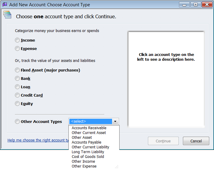 QuickBooks Create a New Account for Loan
