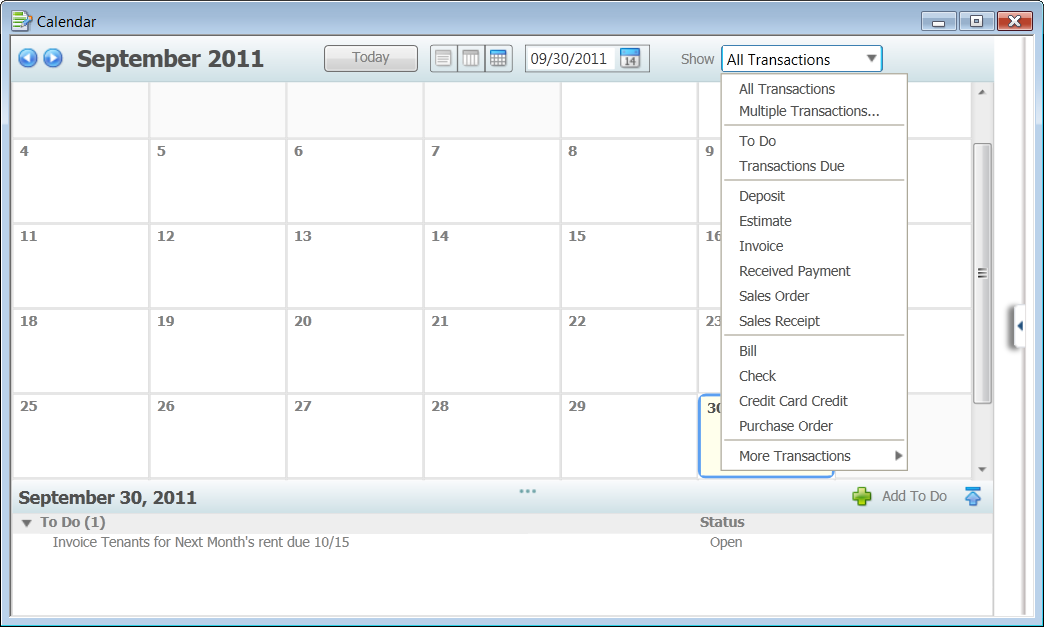 Calendar Choose Transaction