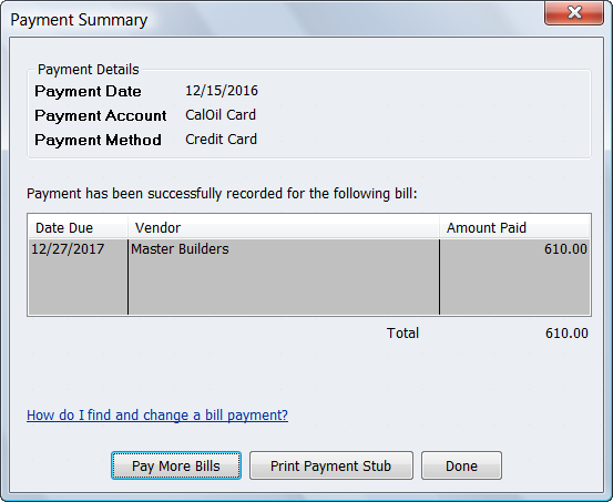 Payment Summary Pay Bills