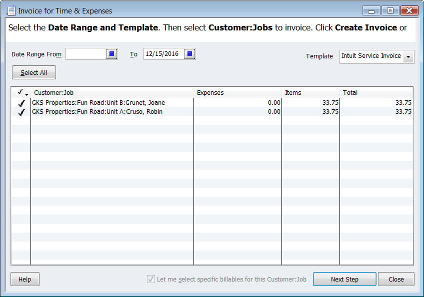 QuickBooks 2012: Batch Invoices for Time & Expenses