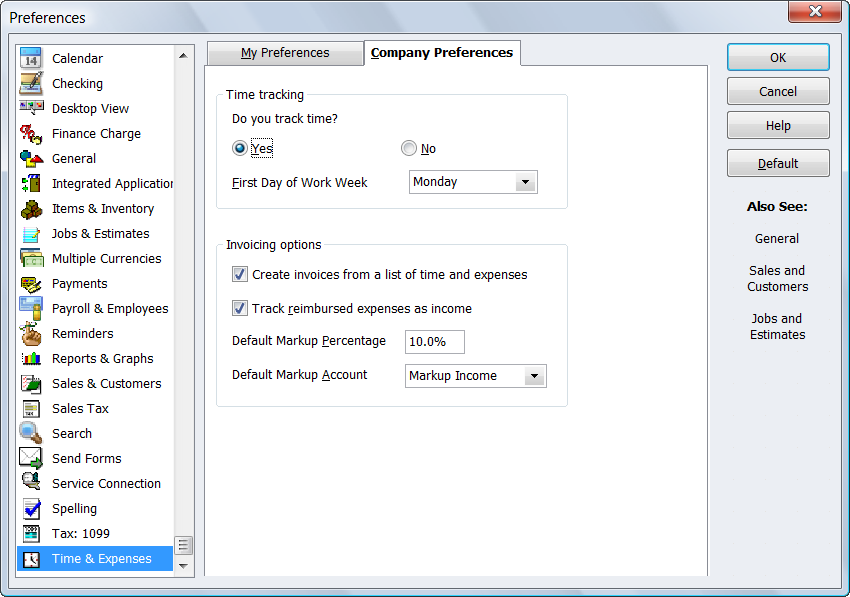 QuickBooks Preferences for Time & Expenses