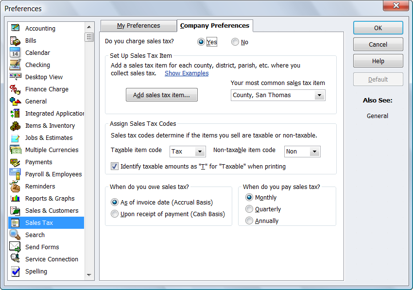 QuickBooks Sales Tax Preferences