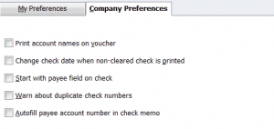 QuickBooks Checking Company Preferences