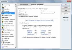 QuickBooks Desktop View  Company Preferences
