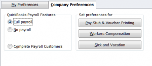 QuickBooks Preferences Payroll Company Preferences