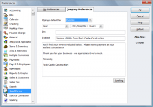 QuickBooks Preferences: Send Forms: Company Preferences