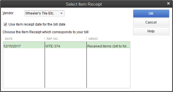 Individual Invoice Template Receiving Inventory With Or Without Bills In Quickbooks Home Depot Receipt Copy Pdf with Duplicate Receipts Pdf Youll Select Purchase Orders That You Want To Create Bills For In This  Window Contractors Invoice Template Excel