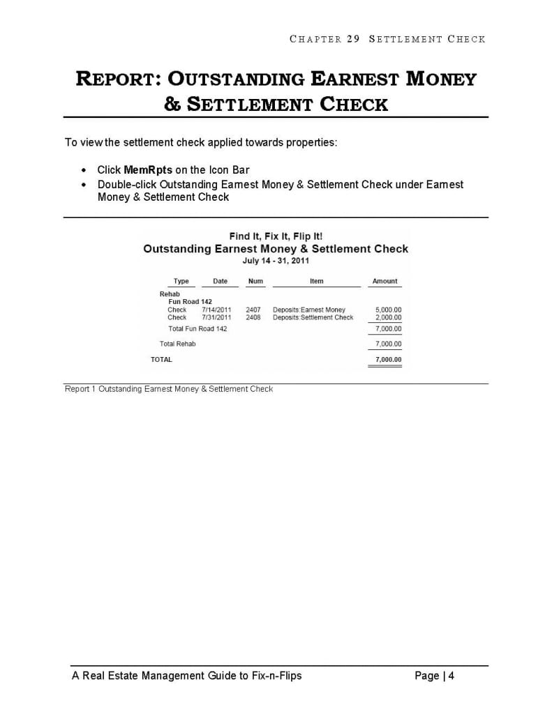 flip real estate quickbooks report settlement