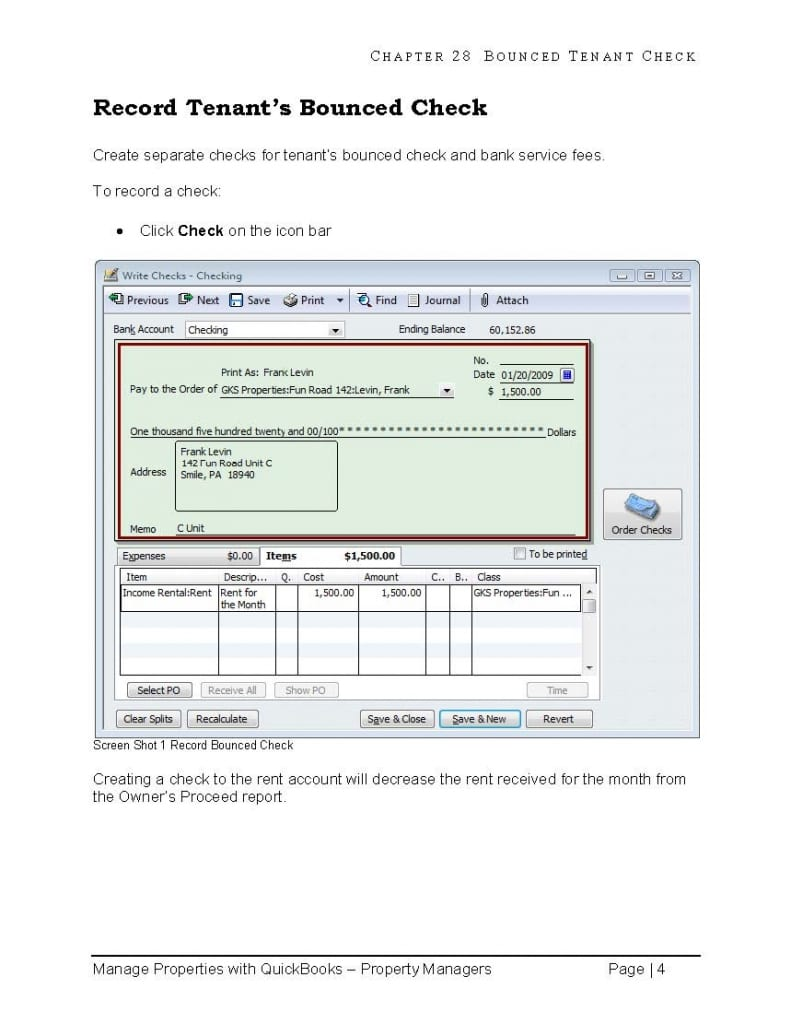 quickbooks property management bounced tenant- check