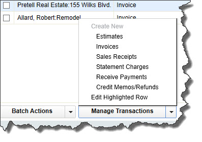 You can open new transaction screens from within QuickBooks' Income Tracker.
