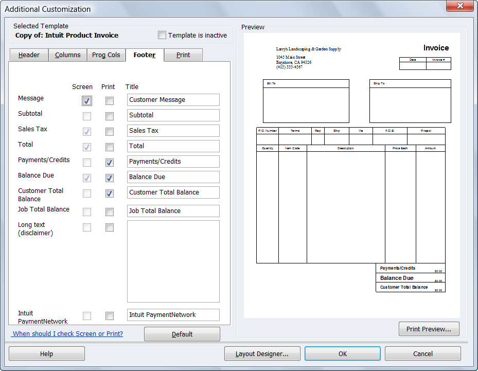 how to add footer fields to quickbooks invoice template