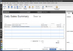 quickbooks enterprise retail sales summary