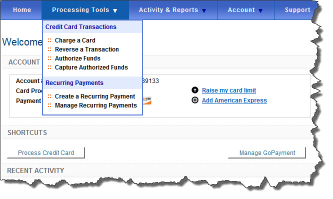 The Processing Tools menu in the Intuit Merchant Service Center provides access to payment-processing tools.