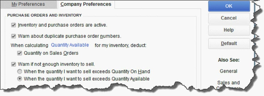 QuickBooks Company Preferences