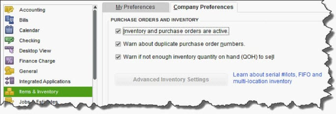 quickbooks tracking inventory