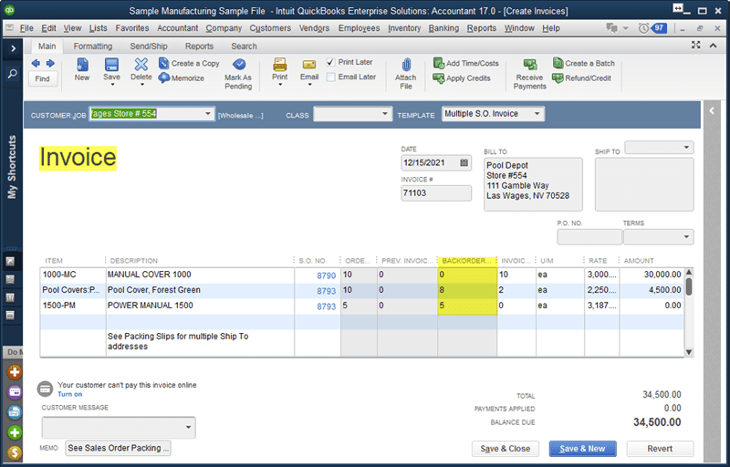 enterprise 17 manufacturing advance inventory track back orders
